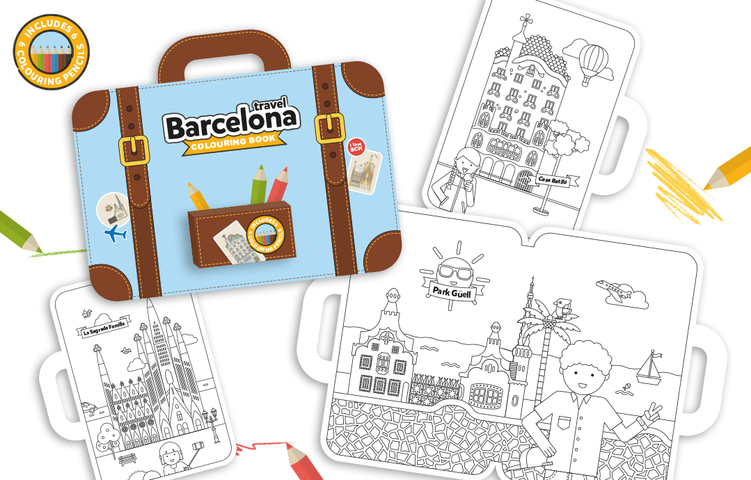 barcelona travel colouring book