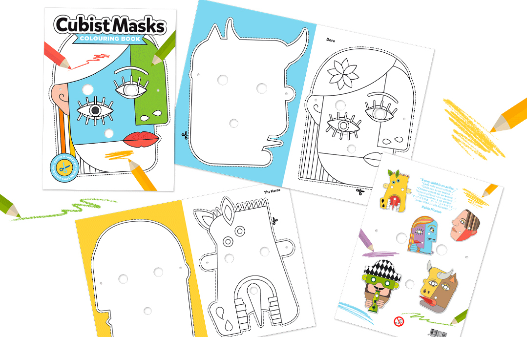 Cubist Masks Colouring Book